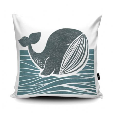 Whale of a Time Print vegan faux suede cushion with a Fibre Inner by Bells Scambler